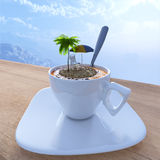 Coffee cup vacation relaxing concept composition Royalty Free Stock Images