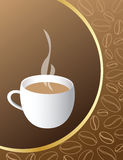 Coffee cup. Vector background with coffee beans pattern, coffee cup Stock Photos