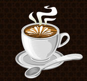 Coffee Cup. A vector illustration of a coffee cup with foam and steam Royalty Free Stock Images