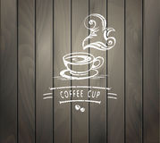 Coffee cup. Vector coffee cup on wooden background Stock Photography