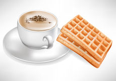 Coffee cup with waffles Royalty Free Stock Image