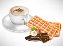 Coffee cup with waffles and chocolate Stock Photos