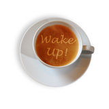Coffee cup with Wake Up! scripture Royalty Free Stock Photo