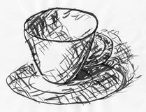 Coffee cup on tray sketch Royalty Free Stock Photo