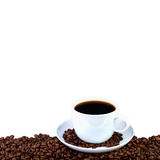 Coffee cup on white background. Menu card with copy space Stock Photos