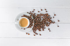 Coffee cup white beans Stock Photo