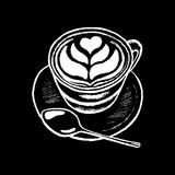Coffee cup white chalk on black chalkboard  illustration. Coffee cup with heart foam drawing. Stock Images