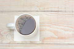 Coffee Cup on White Wood Table Royalty Free Stock Photos