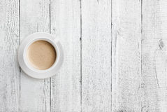 Coffee Cup On White Wood Table Top View Royalty Free Stock Photos