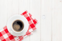 Coffee cup on white wooden table Royalty Free Stock Photo