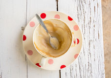 Coffee cup on white wooden table Royalty Free Stock Photos