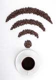 Coffee cup with wi-fi icon beans for cafe Royalty Free Stock Images