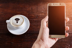 coffee cup wifi and good morning Stock Photos