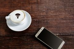 coffee cup wifi and good morning Royalty Free Stock Image