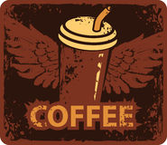 Coffee cup with wings Royalty Free Stock Images