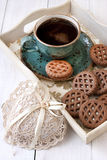 Coffee Cup With Cookies On Table Stock Images