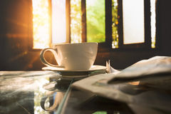 Free Coffee Cup With News Paper At Coffee Shop, Summer Vintage With S Stock Photo - 98081770