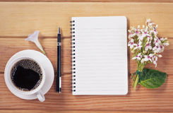 Coffee Cup With Notebook Royalty Free Stock Images