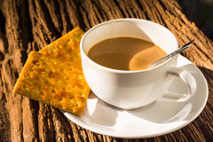 Coffee cup on wood Royalty Free Stock Image
