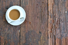coffee cup on wood table with green background stock photo - image