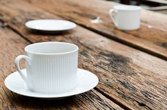 Coffee cup on the wood texture. Stock Photography