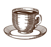 Coffee Cup Woodcut. Isolated cup and saucer ink drawing etching imitation. Coffee cup abstract illustration. Contrast gravure. Design element. (Vector file is stock illustration