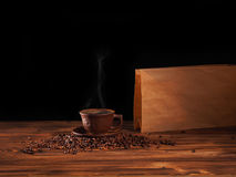 Coffee cup on a wooden backgound. Stock Photography