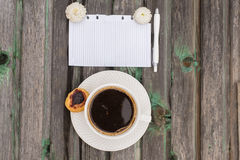 Coffee. Cup of coffee on a wooden background, cake Royalty Free Stock Photos