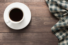 Coffee cup on wooden background. Top view Royalty Free Stock Image