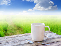 Coffee cup on wooden table with blurred background Stock Images