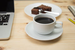 Coffee cup on wooden table. Closeup coffee cup on wooden table Stock Images