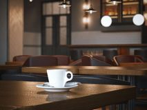 Coffee cup on the wooden table in restaurant. 3d rendering Royalty Free Stock Photo
