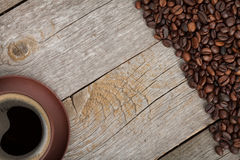 Coffee cup on wooden table texture Stock Photography