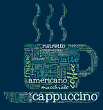 Coffee cup of words. Of the types of coffee Royalty Free Stock Photo