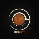 Coffee cup world map background Royalty Free Stock Photo