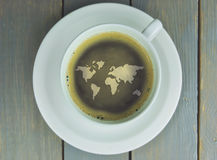 Coffee cup world map Royalty Free Stock Image