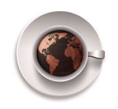 Coffee cup with a world map Royalty Free Stock Image