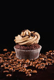 Coffee cupcake & coffee beans. On black background Stock Images