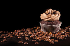 Coffee cupcake & coffee beans Stock Photo