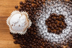 Coffee cupcake, coffee beans overhead view Stock Photo