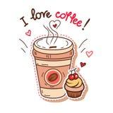 Coffee and cupcake Stock Photo