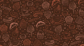 Coffee cupcake pattern Royalty Free Stock Images