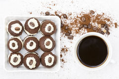 Coffee cupcakes and a cup of a black coffee Stock Images