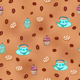 Coffee and cupcakes seamless pattern Royalty Free Stock Photo