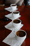 Coffee cupping for evaluate coffee aroma and the flavor profile Stock Image