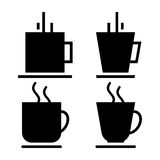 Coffee Cups. Illustration of black color coffee cup icons or symbols set Royalty Free Stock Images