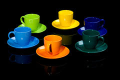 Coffee cups. Isolated on black royalty free stock photography