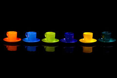 Coffee cups. Isolated on black stock photo