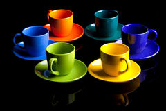Coffee cups. Isolated on black stock photos