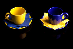 Coffee cups. Isolated on black stock image